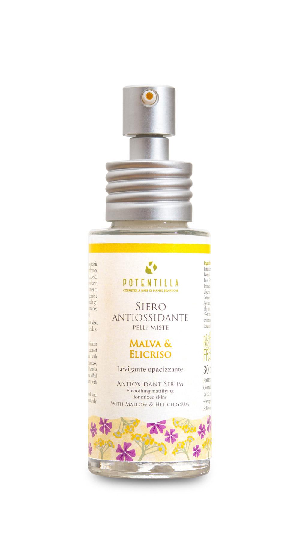 Cosmetici-a-Base-di-piante-selvatiche-siero-antiossidante-pelli-miste-malva-ed-elicriso-levigante-opacizzante-con-erogatore-home